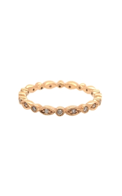 18k Rose Gold Diamonds Band With Milgrain Pattern C4767 product image