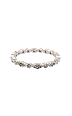 18k White Gold Diamonds Band With Milgrain Pattern G11989 product image