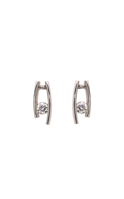 14k White Gold Channel-Set Stud Earrings C6147 product image