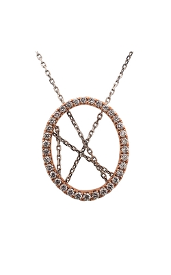 14k White And Rose Gold Circle Pendant With Adjustable Chain C8108 product image
