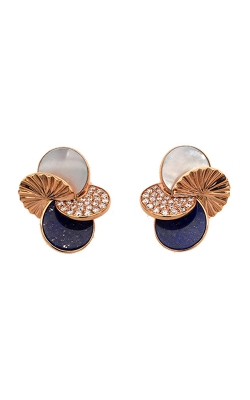 14k Rose Gold Diamond Stud Earrings With Enamel G12116 product image