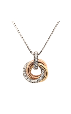 14k Tri-Gold Three-Ring Necklace With Diamonds C8769 product image