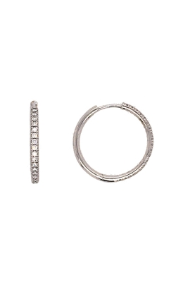 14k White Gold Pave Hoop Earrings product image