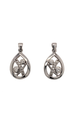 14k White Gold Tear Drop Earrings C8910 product image