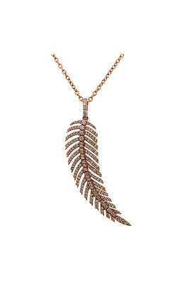 18k Rose Gold Feather Pendant With Diamonds C9855 product image
