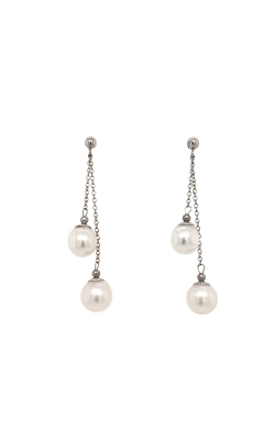 14k White Gold Akoya Pearls Drop Earrings - 7.0-7.5mm G10159 product image