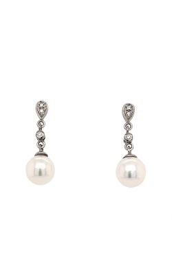 14k White Gold Akoya Pearls Drop Earrings With Diamond Accents G10162 product image