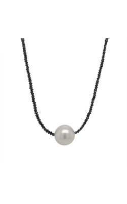14k Yellow Gold South Sea Pearl Necklace With Black Diamond Beads - 18 Inches G10594 product image