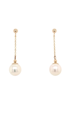 14k Yellow Gold Akoya Pearls Drop Earrings - 7.0-7.5mm G12602 product image