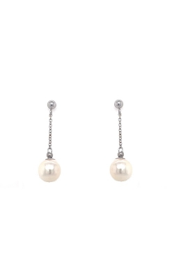 14k White Gold Akoya Pearls Drop Earrings - 7.0-7.5mm G12453 product image