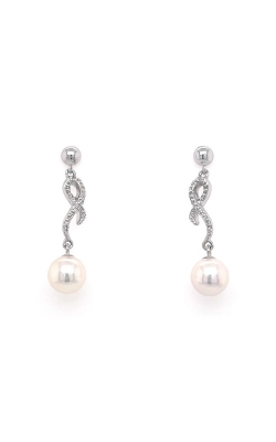 18k White Gold Akoya Pearls Drop Earrings - 6.5-7.0mm G12454 product image