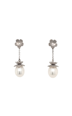 18k White Gold Freshwater Pearls Drop Earrings With Diamond Accents G8169 product image