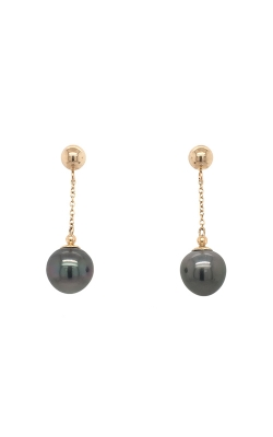 14k Yellow Gold Tahitian Pearls Drop Earrings - 8.5-9.0mm G9480 product image