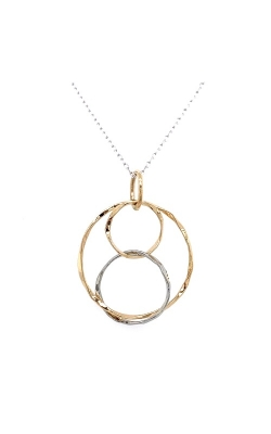 14k White & Yellow Gold Hammered Texture Circles Pendant G12191 product image