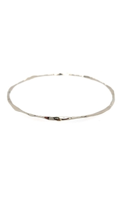 14k White Gold Hammered Texture Oval Bangle G12192 product image