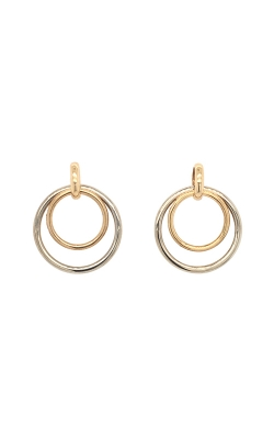 14k White And Yellow Gold Double Circle Drop Earrings G12082 product image